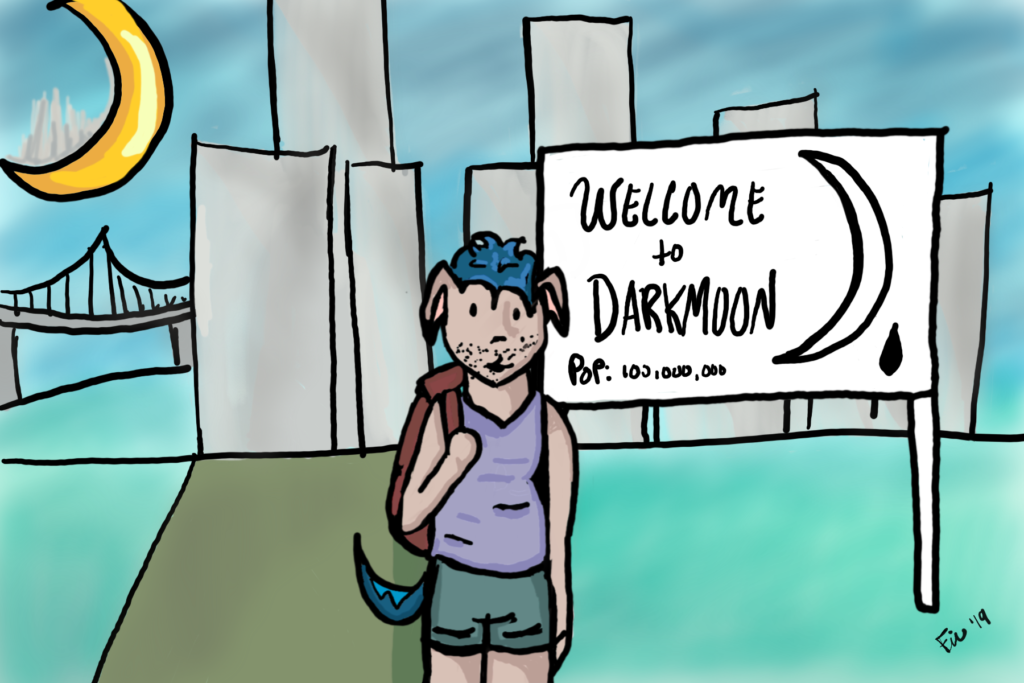"a dog-person with blue hair and a red backpack stands in front of a sign that says ""welcome to darkmoon"" In the background there is a city skyline, a bridge, and a moon with a visible skyline."